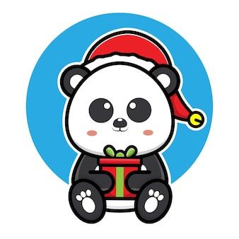 Simpatico panda con cappello di babbo natale cartone animato vettore concetto illustrazione