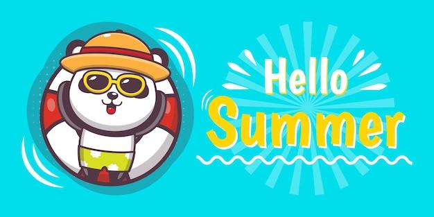 Simpatico panda con banner di auguri estivi
