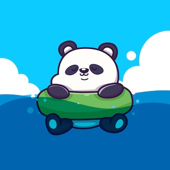 Panda carino con nuotata ring icon illustration. concetto animale dell'icona di estate isolato. stile cartone animato piatto