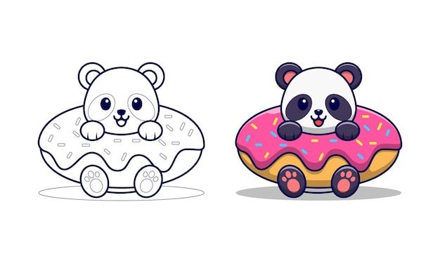 Pagina da colorare di cartoni animati carino panda con anello di nuoto per bambini