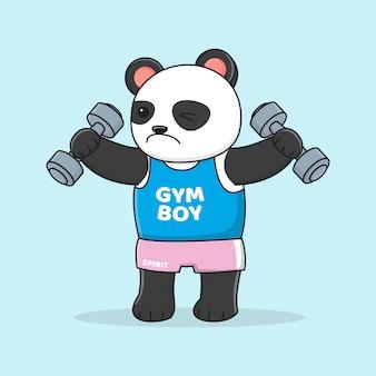 Panda carino allenarsi con manubri