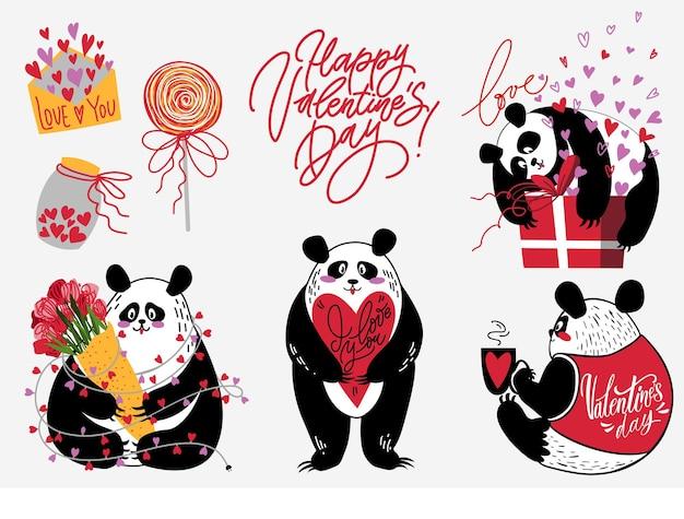 Collezione di simpatici panda con confezione regalo di cuori con scritta amore e bouquet illustrazione vettoriale