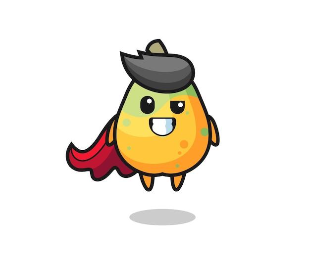 Il simpatico personaggio di papaya come un supereroe volante, design in stile carino per maglietta, adesivo, elemento logo