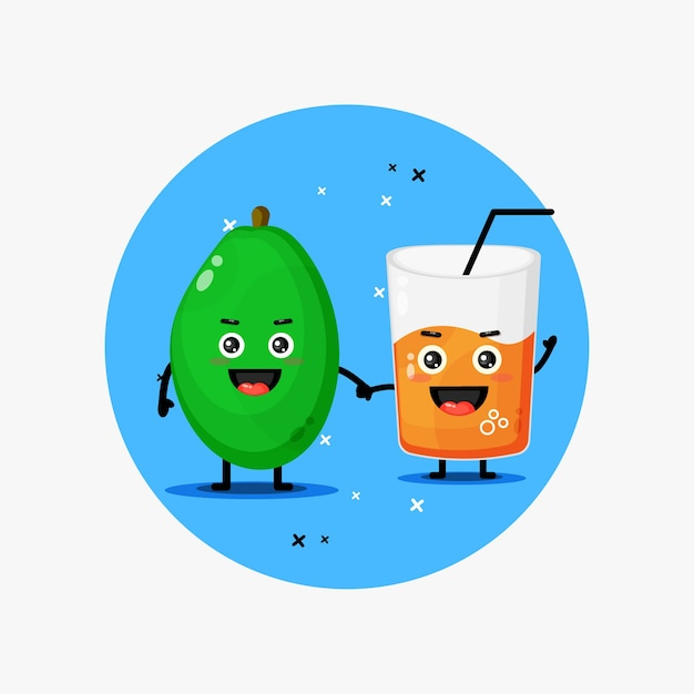 Mascotte sveglia del succo di papaia e della papaia che tengono le mani