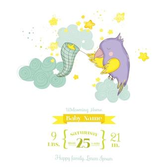 Simpatico pappagallo che cattura le stelle. baby shower o biglietto di arrivo in