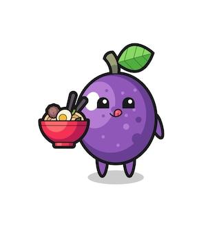 Simpatico personaggio di frutto della passione che mangia noodles, design in stile carino per t-shirt, adesivo, elemento logo