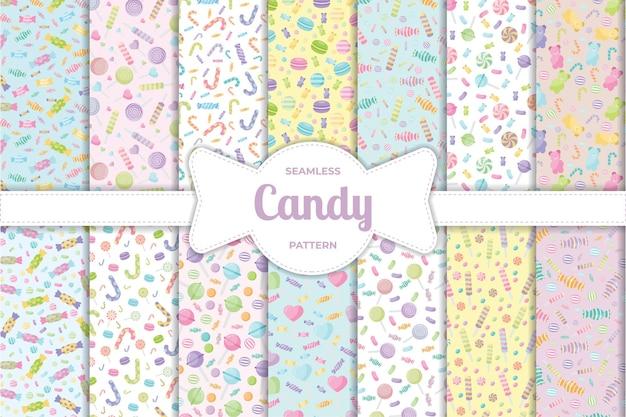 Modello senza cuciture di dolci dolci caramelle pastello carino con diversi tipi