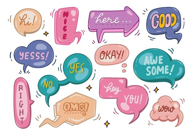 Illustrazione di doodle di bolla di discorso di colori pastello carino