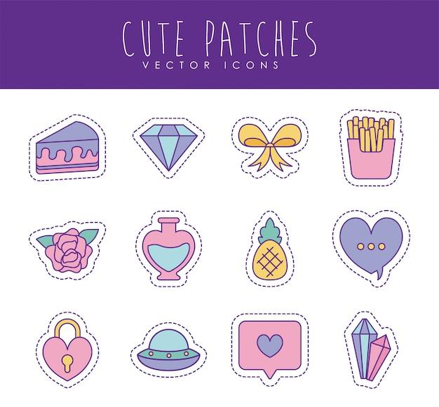 Linea di patch carino e set di icone di stile riempimento