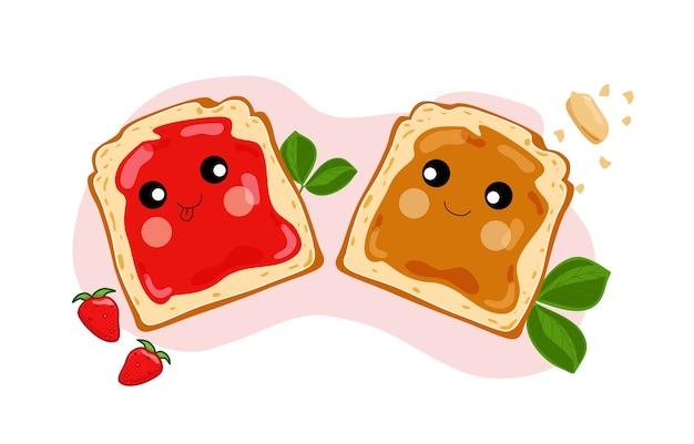 Graziosi panini con burro di arachidi e gelatina. illustrazione.