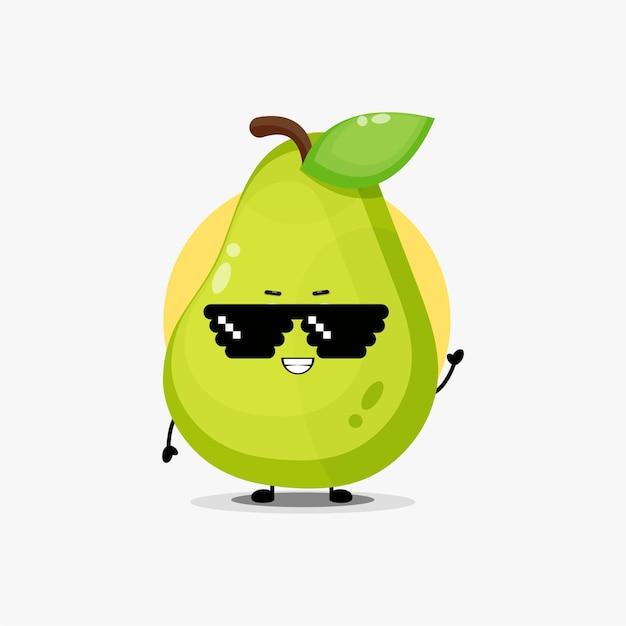 Simpatico personaggio di pera che indossa occhiali pixel