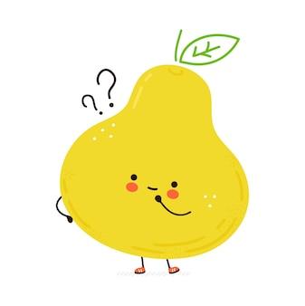 Simpatico frutto di pera con punti interrogativi