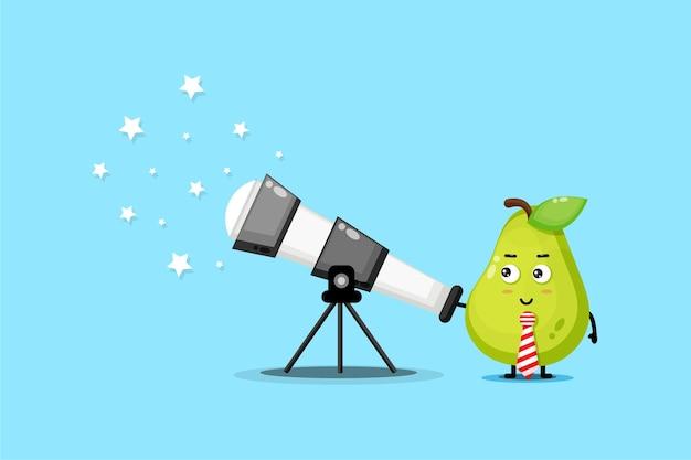 La mascotte sveglia della pera sta guardando le stelle