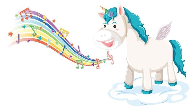 Simpatico pegaso in piedi sulla nuvola con simboli di melodia sull'arcobaleno