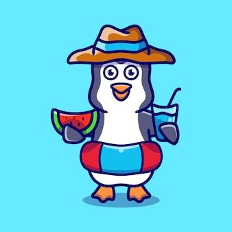 Simpatico pinguino con cappello da spiaggia con anelli da bagno che trasportano anguria e bevanda
