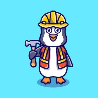 Simpatico costruttore di pinguini che trasporta martello