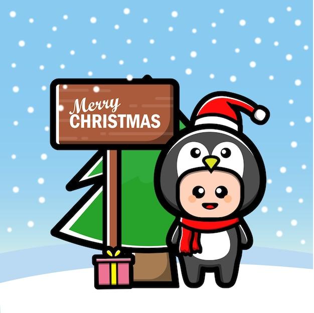 Simpatico cartone animato pinguino con albero e regalo
