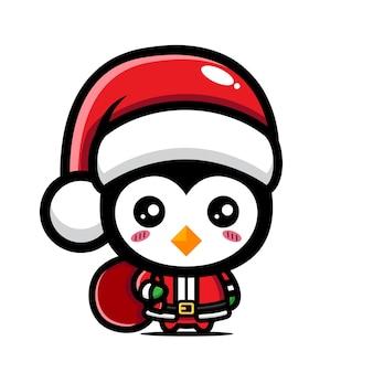 Simpatico pinguino che festeggia il natale