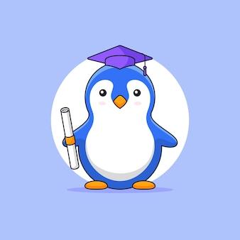 Illustrazione sveglia del profilo della mascotte di educazione degli animali del cappello di toga di usura di laurea del college del pinguino