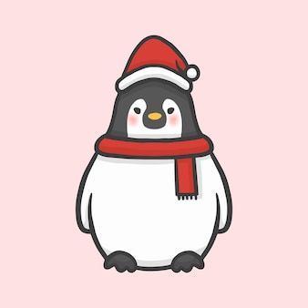 Vettore disegnato a mano di stile del fumetto di natale sveglio del costume del pinguino