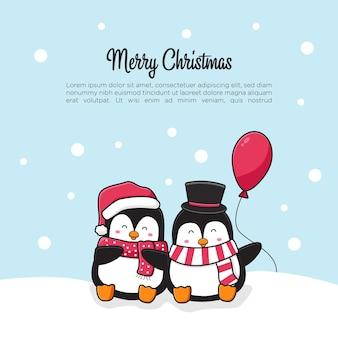 Coppia di pinguini svegli che salutano buon natale e felice anno nuovo cartone animato scarabocchio carta sfondo illustrazione piatto stile cartone animato