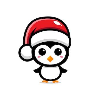 Simpatico disegno di pinguino che celebra il natale