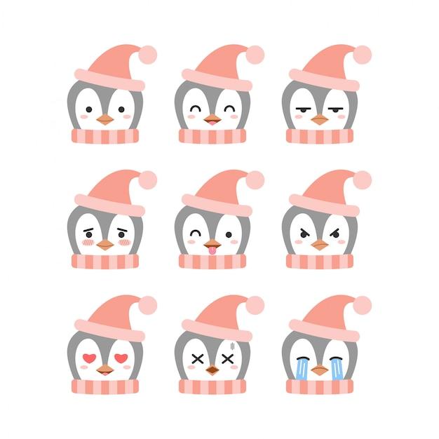 Set di emoticon carino pinguino Vettore Premium