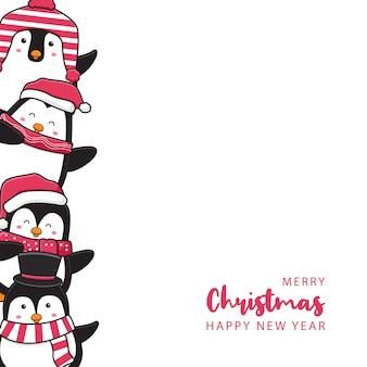 Famiglia di pinguini carina che saluta buon natale e felice anno nuovo cartone animato doodle card