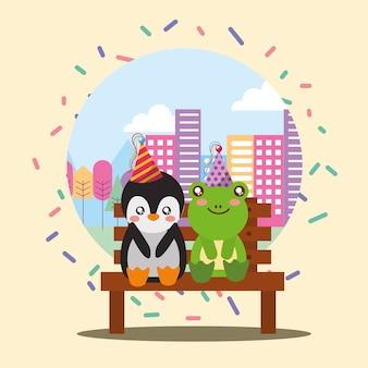 Simpatico pinguino e rana seduti in panchina della città