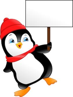 Pinguino carino con cartello bianco