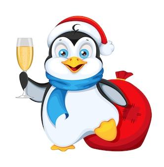 Pinguino sveglio che tiene un bicchiere di champagne