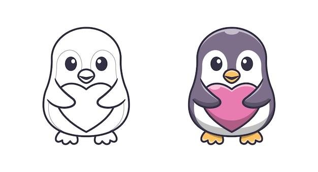 Pinguino carino che tiene pagine da colorare di cartoni animati d'amore per bambini