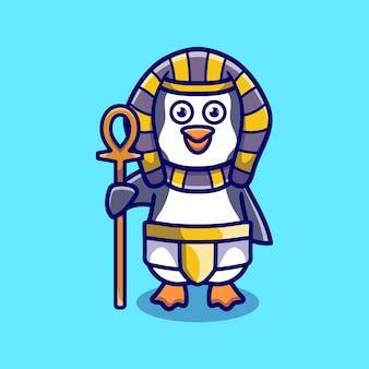 Simpatico pinguino faraone che porta un bastone
