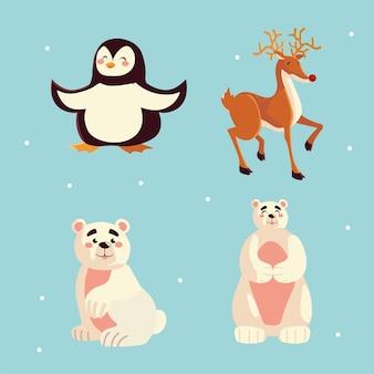 Illustrazione sveglia delle icone degli animali della renna dell'orso polare del pinguino