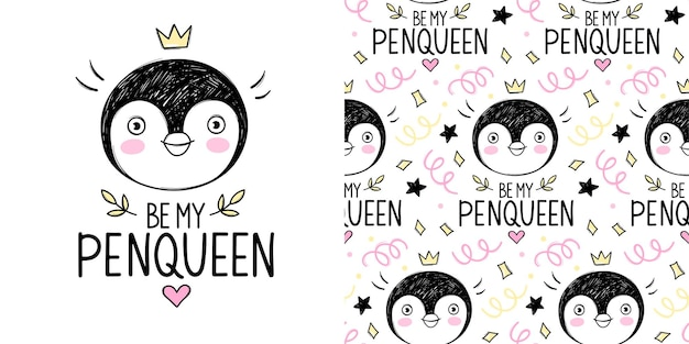 Ragazza carina principessa pinguino con illustrazione della corona e modello senza soluzione di continuità