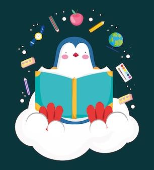 Simpatico libro di lettura dei pinguini