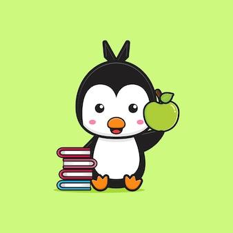 Il pinguino sveglio si siede tenendo la mela con l'illustrazione dell'icona del fumetto del libro. progetta lo stile dei cartoni animati piatti isolati