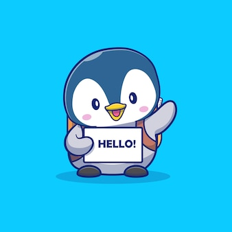 Illustrazione sveglia dell'icona del fumetto di say greeting cartoon dell'allievo. concetto dell'icona di istruzione e dell'animale isolato. stile cartone animato piatto