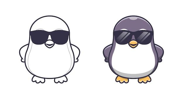Pinguino carino con gli occhiali da colorare cartoni animati per bambini