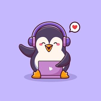 Pinguino carino che indossa le cuffie che lavora su un'illustrazione del fumetto dell'icona del computer portatile