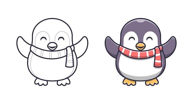 Pinguino carino che indossa una sciarpa da colorare cartoni animati per bambini Vettore Premium
