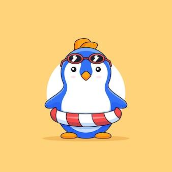 Simpatico pinguino che indossa occhiali da sole e illustrazione del fumetto della mascotte animale della vacanza al mare della gomma galleggiante