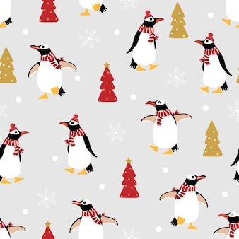 Pinguino sveglio nel modello senza cuciture del costume di inverno