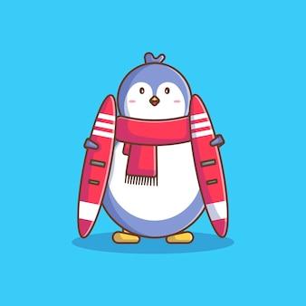 Simpatico pinguino con sciarpa e tavola da sci