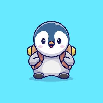 Pinguino carino con borsa di scuola