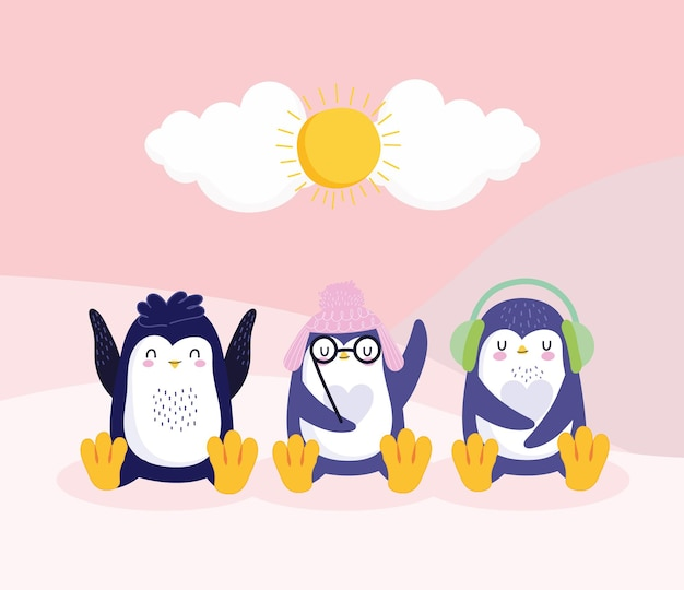 Paraorecchie con cappellini simpatici pinguini