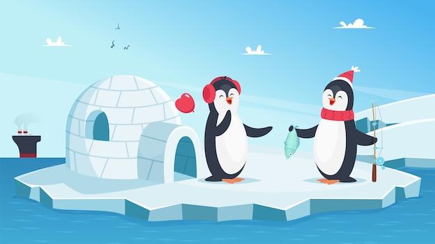 Simpatici pinguini innamorati. animali invernali di natale. pinguini del fumetto su ghiaccio nell'oceano con l'illustrazione di vettore dei pesci. pesce e pinguino, animali felici sull'iceberg