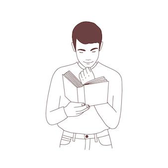 Carino pensieroso giovane libro di lettura o preparazione per l'esame. ritratto di studente maschio o lettore di letteratura disegnato a mano con linee di contorno su sfondo bianco. illustrazione vettoriale monocromatica.