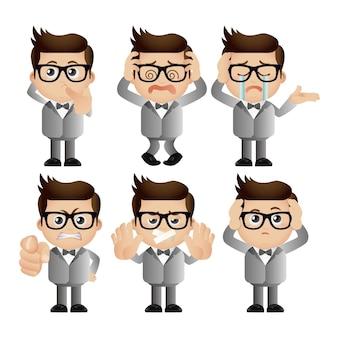 Persone carine uomini d'affari con emozioni diverse