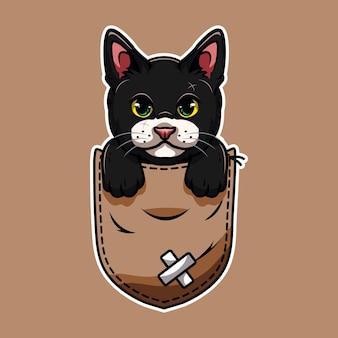 Simpatico cartone animato gatto domestico che esce dalla tasca del marsupio